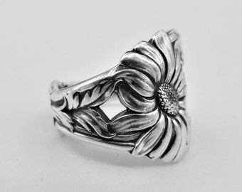 Spoon Ring-Sterling Silver-Antique Spoon  Ring-Authentic Spoon Ring-Daisy Spoon Ring-Ring-Flower Spoon Ring-Flower Ring  Size 6.75