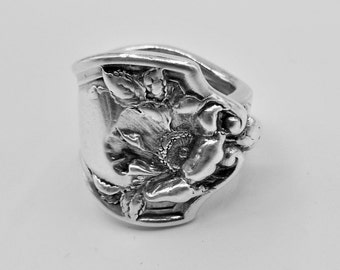 Spoon Ring-Antique Spoon Ring-Authentic Spoon Ring-Sterling Spoon Ring-Poppy Spoon Ring-September Spoon Ring-Folded Poppy Ring   Size 8