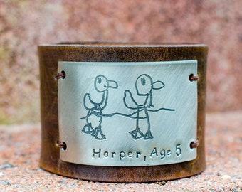 Kid Art Custom Engraved  Leather Cuff