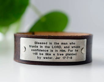 Blessed is the man who trusts in the LORD, Jeremiah 17: 7-8 Scripture Leather Cuff