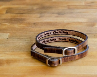 His and Hers  Love Single Wrap Leather Bracelets - Set of Two