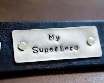 Personalized Leather Key Chain Accessory, Anniversary Gift, Custom Keychain, Wedding Gift, My Superhero-  Flat Back Leather Keychain