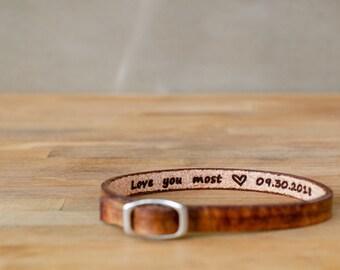 Love you most-special date- secret message Leather Bracelet