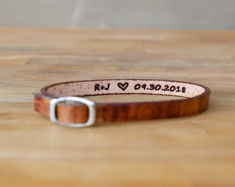 Initials-special date- secret message Leather Bracelet