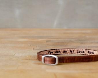 You can do it, love mom- Single Wrap Leather Bracelet
