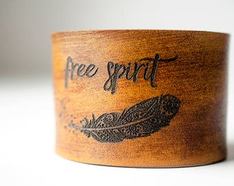 Free Spirit Boho Feather Engraved on Wide Leather Cuff