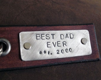 Best Dad Ever -  Flat Back Leather Keychain Personalized Leather Key Chain Accessory, Anniversary Gift, Custom Keychain, Wedding Gift,