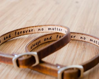 Always and forever no matter what Single Wrap Leather Bracelet - Set of Two