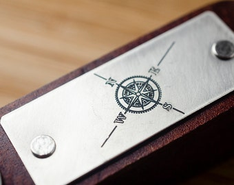 Compass Rose Custom Personalized Leather Key Chain Accessory, Anniversary Gift, Custom Keychain,