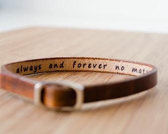 Secret Hidden Message Skinny Adjustable Leather Bracelet