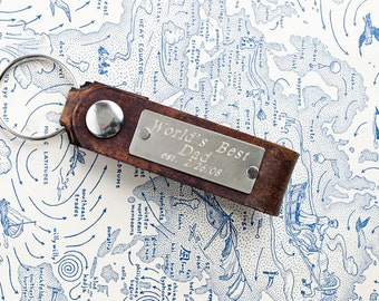 Personalized Leather Key Chain Accessory, Anniversary Gift, Custom Keychain, Wedding Gift, Worlds Best Dad -  Custom  Leather Keychain