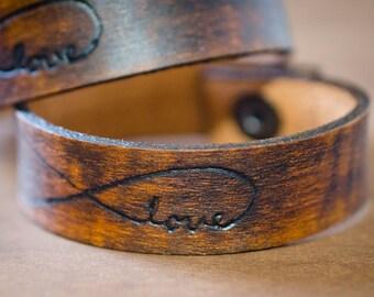 Love Always - Infinity Leather Cuff Bracelet