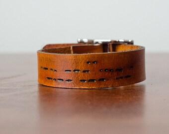 I Love You Morse Code Secret Message Cuff Bracelet with Adjustable Buckle