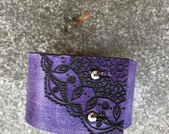 Lace Mandala Design on Wide Distressed Leather Cuff