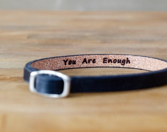 Featured listing image: You are enough- secret message Leather wrap Bracelet