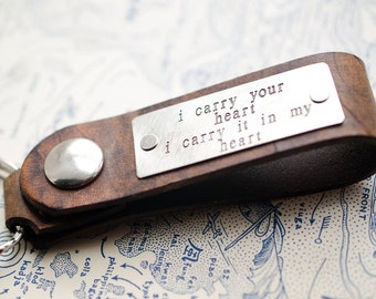 I carry your heart Personalized Leather Key Chain Accessory, Anniversary Gift, Custom Keychain, Wedding Gift, ee cummings