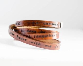 i carry your heart (in my heart) - e.e. cummings - Ultra Long Leather Wrap Bracelet Stacking Bracelet, Leather Cuff Bracelet, Triple Wrap