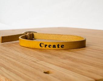 Custom Skinny Adjustable Leather Bracelet