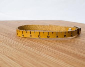 Centimeter Ruler Custom Leather Bracelet