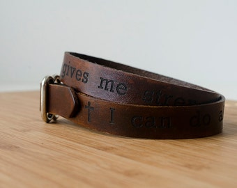 Philippians 4:13 Scripture Bible Verse Leather Wrap Bracelet - I can do all this through him who gives me strength