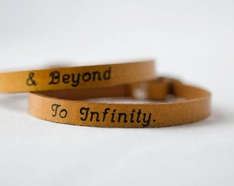 To Infinity and Beyond His and Hers Single Wrap Leather Bracelet - Set of Two