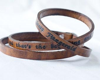 I Love Her- F. Scott Fitzgerald Ultra Long Custom Quote Leather Wrap Bracelet