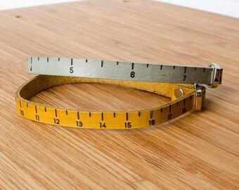 Inch Ruler Measurement Single Wrap Leather Bracelet