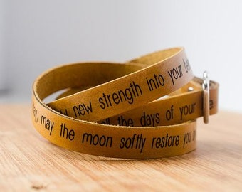 Apache Blessing May on Wide Leather Wrap Bracelet