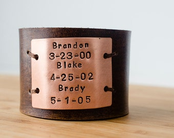 Hand Stamped Child's Name and Birth Date Custom Text on Wide Distressed Leather Cuff