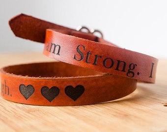 I Am Strong I am Beautiful I am Enough - Wide Wrap Bracelet