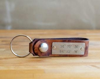 Nautical Coordinates Leather Key Chain- Anniversary Gift or Wedding Gift, Latitude and Longitude