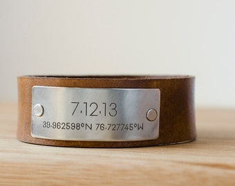 Custom Date Cuff with Latitude and Longitude of Your Special Place