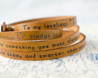 To My Lovelies, Winnie the Pooh Ultra Long Leather Wrap Bracelet - Personalized Leather Jewelry