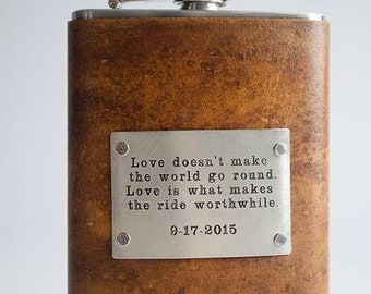 Love Doesn't Make The World Go Round - Wedding Flask with Custom Date