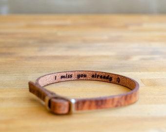 I miss you already-Secret Message Leather Bracelet