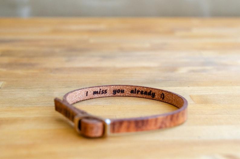 I miss you already-Secret Message Leather Bracelet image 0