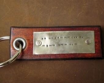 Morse Code Leather Key Chain