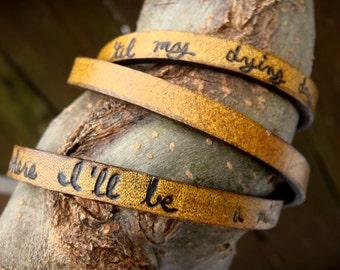 Custom Quote Leather Wrap Bracelet