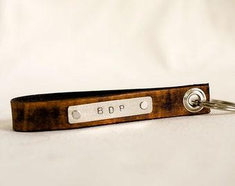 Personalized Leather Key Chain Accessory, Anniversary Gift, Custom Keychain, Wedding Gift, Monogram Initials  Skinny Leather Key Chain