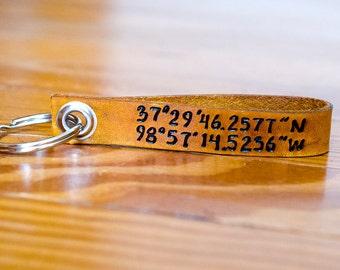 Latitude and Longitude Custom Leather Keychain ,Personalized Leather Key Chain Accessory, Anniversary Gift, Custom Keychain, Wedding Gift,