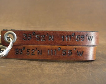 Coordinate Latitude and Longitude Leather Keychain - Customize with Your Location