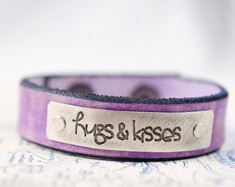 Hugs and Kisses -  Adjustable Leather Snap Cuff with Engraved Metal Plate
