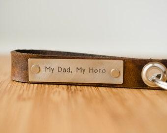 My Dad My Hero Skinny Leather Key Chain-  Personalized Leather Key Chain Accessory, Anniversary Gift, Custom Keychain, Wedding Gift,
