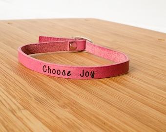 Choose Joy Custom Skinny Adjustable Leather Bracelet Pink