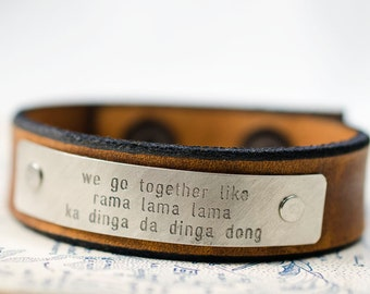 We Go Together Like - Grease Lyrics -  Adjustable Leather Snap Cuff with Engraved Metal Plate