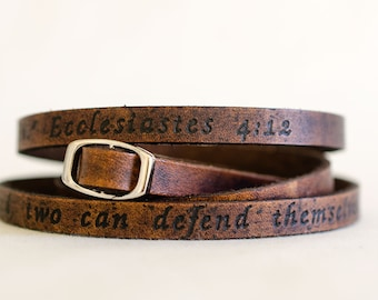 Scripture Ecclesiastes 4:12 - Ultra Long Carved Bible Verse Leather Wrap Bracelet