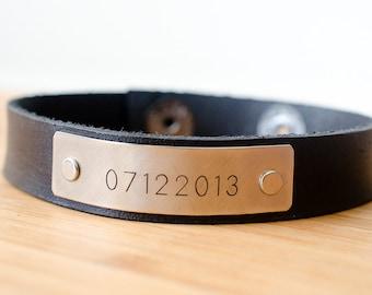 Minimal Custom Date Custom Leather Cuff - Gift for Guys