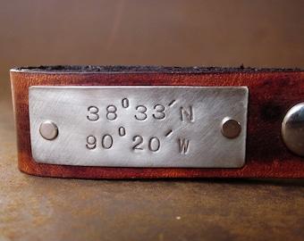 Personalized Leather Key Chain Accessory, Anniversary Gift, Custom Keychain, Wedding Gift, Latitude and Longitude Custom Leather Keychain