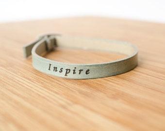 Inspire Custom Skinny Adjustable Leather Bracelet
