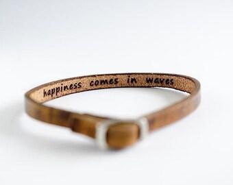 Happiness Comes in Waves Hidden Message Skinny Adjustable Leather Bracelet